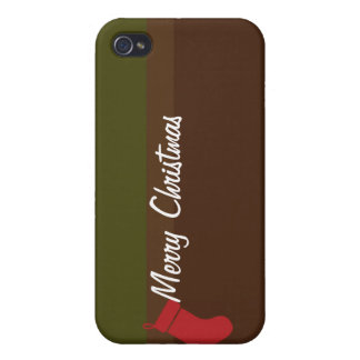 Caja verde roja llana del iPhone del texto de las iPhone 4 Protectores