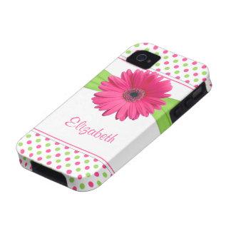 Caja verde rosada del iPhone 4 de la margarita del