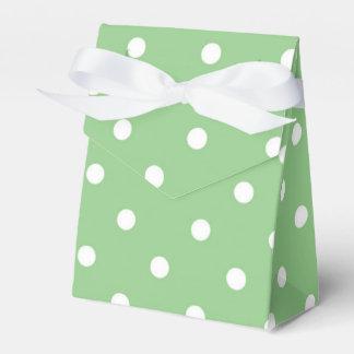 Caja verde y blanca del favor del lunar cajas para detalles de boda