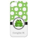 Caja verde y blanca del Froggy del lunar del iPhon iPhone 5 Case-Mate Protectores
