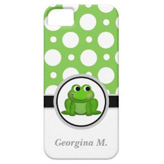 Caja verde y blanca del Froggy del lunar del iPhone 5 Fundas