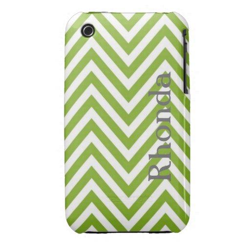 Caja verde y blanca del iPhone 3 de Chevron iPhone 3 Case-Mate Coberturas