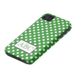 Caja verde y blanca del lunar del iPhone 4 4S Case-Mate iPhone 4 Cárcasas