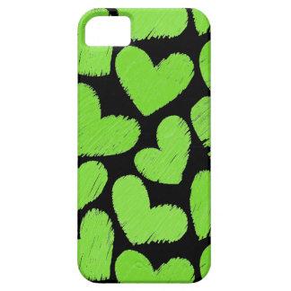 Caja verde y negra del iPhone 5 de los corazones iPhone 5 Case-Mate Coberturas