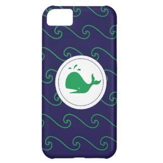 Caja verde y ondulada del cuento de las ballenas carcasa iPhone 5C
