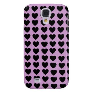 Caja viva del teléfono de HTC de los corazones neg Funda Para Galaxy S4