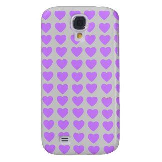 Caja viva del teléfono de HTC de los corazones púr Funda Para Galaxy S4