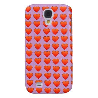 Caja viva del teléfono de HTC de los corazones roj Funda Para Galaxy S4