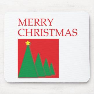 Caja y árboles de las Felices Navidad Alfombrillas De Ratones