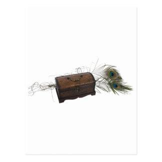 Caja y plumas antiguas tarjeta postal