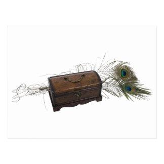 Caja y plumas antiguas tarjetas postales