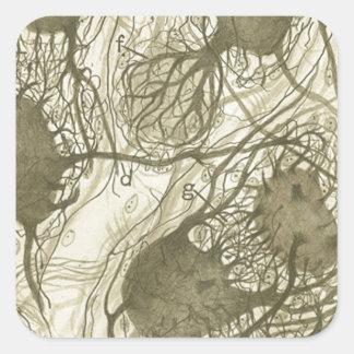 Cajal's neurons 6 square sticker