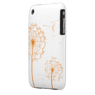 cajas anaranjadas de la casamata del diente de leó Case-Mate iPhone 3 fundas