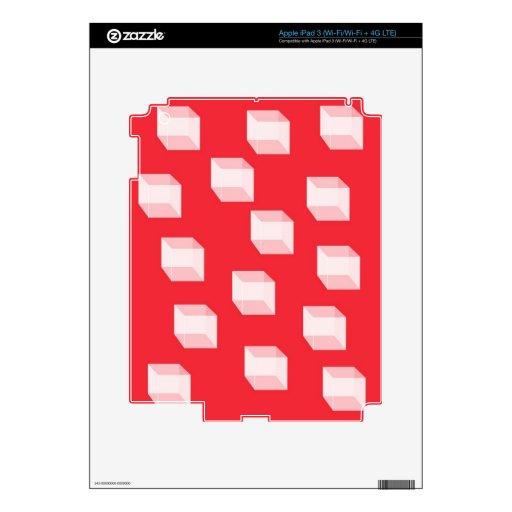 Cajas blancas tridimensionales en piel roja del iP Pegatinas Skins Para iPad 3