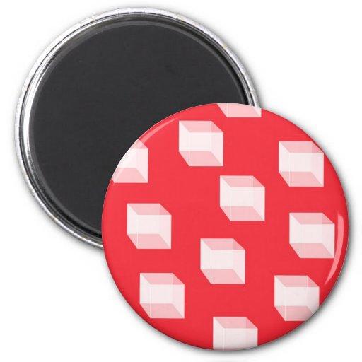 Cajas blancas tridimensionales en rojo imán redondo 5 cm