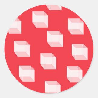 Cajas blancas tridimensionales en rojo etiquetas redondas