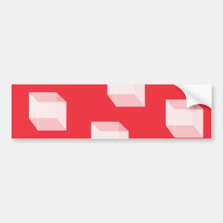 Cajas blancas tridimensionales en rojo pegatina para auto