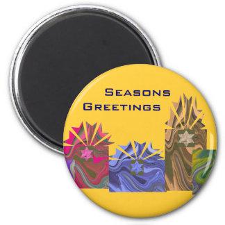 Cajas coloridas de los saludos de las estaciones imán redondo 5 cm