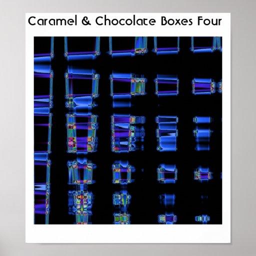 Cajas cuatro del caramelo y del chocolate póster