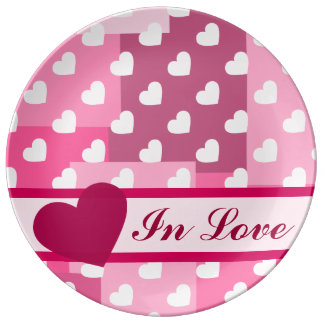 Cajas de amor (corazones y cajas rosas claros) platos de cerámica