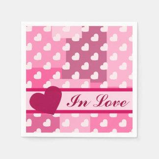 Cajas de amor (corazones y cajas rosas claros) servilletas desechables