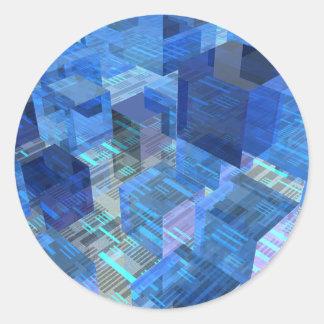Cajas de azul pegatina redonda