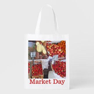 Cajas de fruta - día de mercado bolsa de la compra