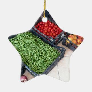 Cajas de la fruta y verdura adorno navideño de cerámica en forma de estrella