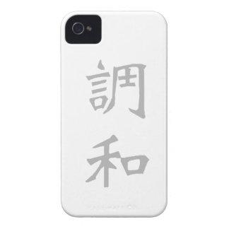 Cajas de la zarzamora del kanji de la armonía iPhone 4 Case-Mate cárcasas