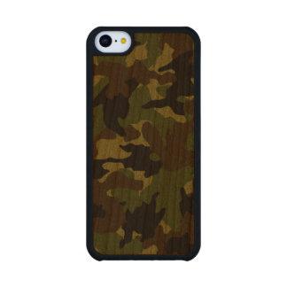 Cajas de madera militares verdes ásperas del funda de iPhone 5C slim cerezo