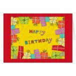 Cajas de regalo del feliz cumpleaños - tarjeta de