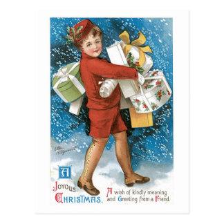 Cajas de regalo felices del navidad pasado de moda tarjetas postales