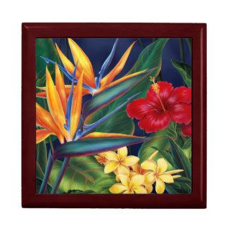 Cajas de regalo florales hawaianas del paraíso tro joyero cuadrado grande