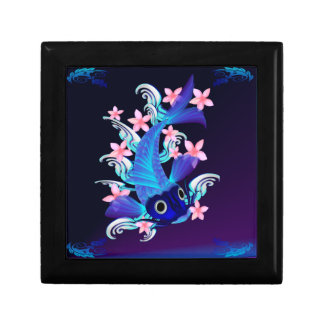 Cajas de regalo Koi-Rosadas azules de las flores Joyero Cuadrado Pequeño
