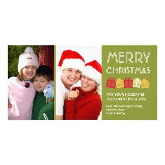 Cajas de regalo verdes del baile de la diversión d tarjeta fotografica