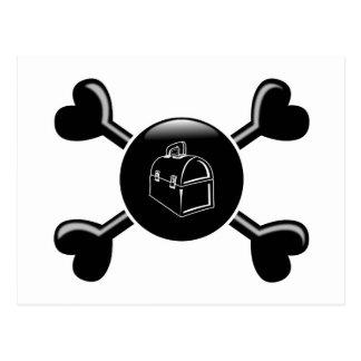 Cajas del almuerzo de la bandera pirata postal