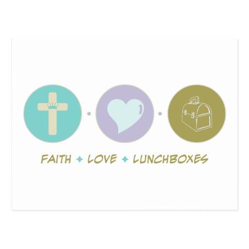 Cajas del almuerzo del amor de la fe postales
