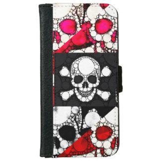 Cajas del cráneo y de la cartera de los huesos funda cartera para iPhone 6