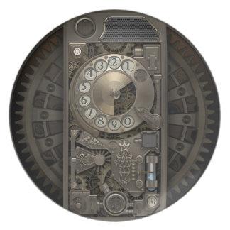 Cajas del teléfono de dial rotatorio de Steampunk. Plato De Comida