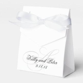 Cajas elegantes del monograma de un favor del boda cajas para regalos