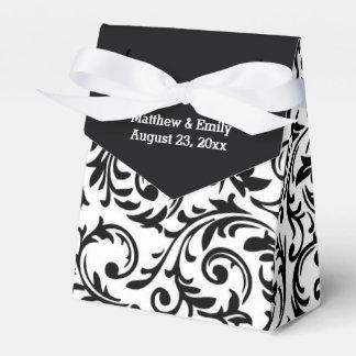 Cajas florales blancos y negros del favor del boda paquetes de regalo para bodas