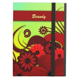 Cajas florales rojas del aire del iPad del iCase
