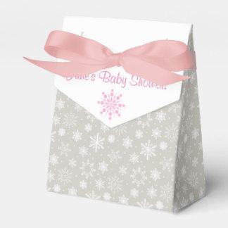 Cajas grises y rosadas del favor del copo de nieve cajas para regalos de boda