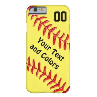 Cajas personalizadas del teléfono del softball del funda para iPhone 6 barely there