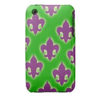 Cajas púrpuras y verdes del teléfono de la flor de iPhone 3 cárcasa