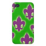 Cajas púrpuras y verdes del teléfono de la flor de iPhone 4 cárcasa