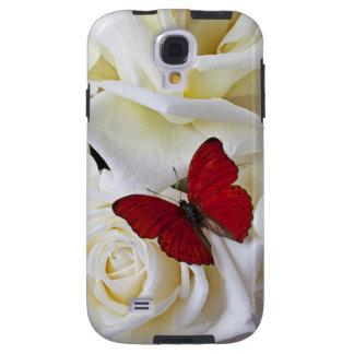 Cajas rojas de la galaxia S4 de la mariposa w/Rose Funda Para Galaxy S4