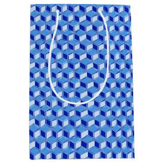 Cajas tridimensionales del cromo - azul de cobalto bolsa de regalo mediana