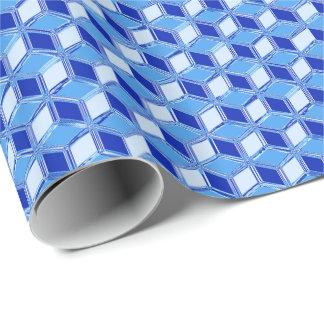 Cajas tridimensionales del cromo - azul de cobalto papel de regalo