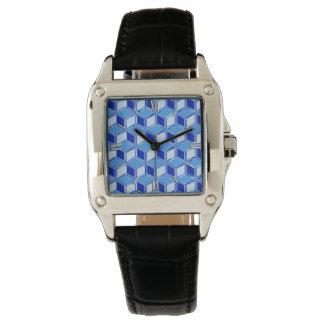 Cajas tridimensionales del cromo - azul de cobalto relojes